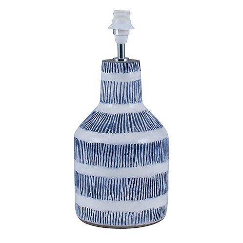 Blue and White Etch Detail Stoneware Table Lamp