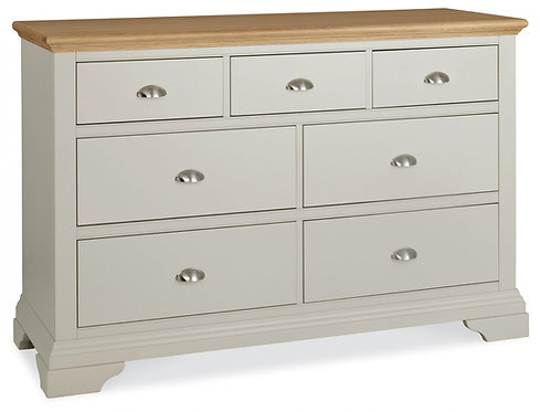 Hampstead Soft Grey and Oak 3+4 Drawer Chest.