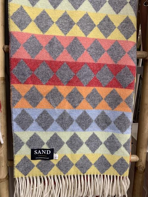 Merino Wool Diamond Rainbow Blanket