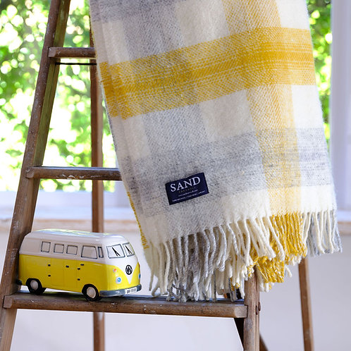 Coverack Cove Coastal Check Pure New Wool Sand Blanket