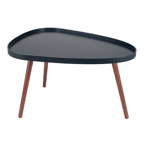 Black MDF & Brown Pine Wood Teardrop Coffee Table