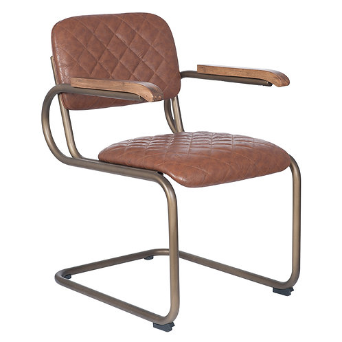 Antique Brown PU Leather & Metal Chair