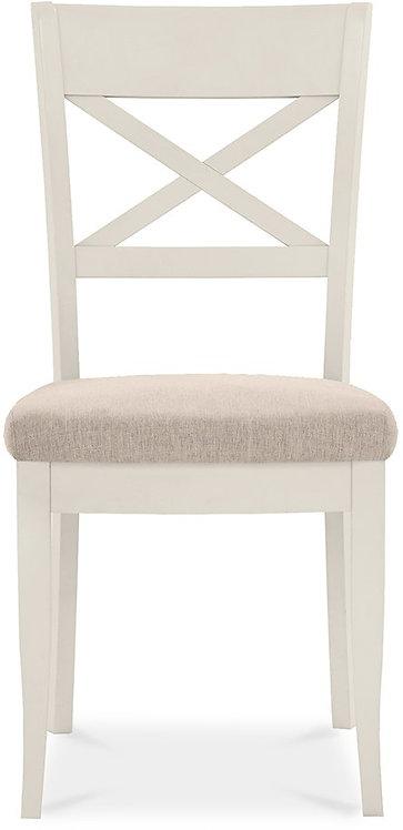 Montreux Antique White X Back Chair - Sand Colour Fabric (Pair)