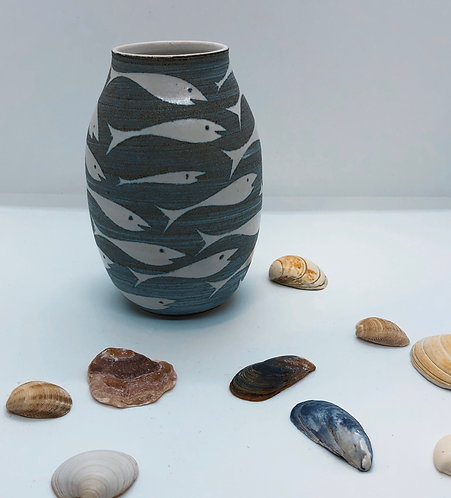 Coastal Hand Crafted Pottery Fish Collection Small Pebble Vase
