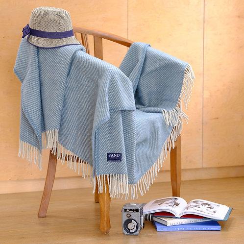 Diagonal Stripe Petrol Blue Pure New Wool Sand Blanket