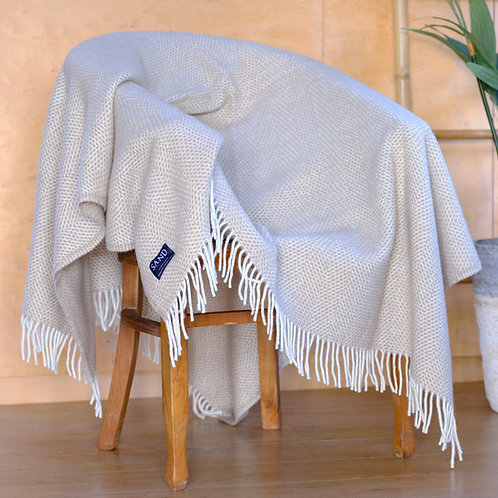 Beehive Oatmeal Pure New Wool Sand Blanket