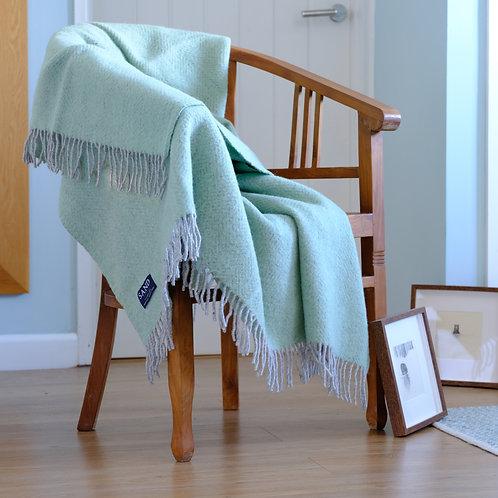 Silver Grey & Laurel Green Herringbone Pure New Wool Sand Blanket