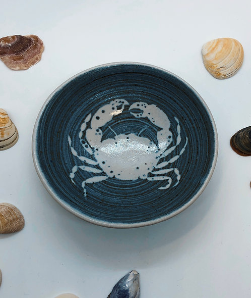Coastal Hand Crafted Pottery Crab Collection Medium Dipping Bowl