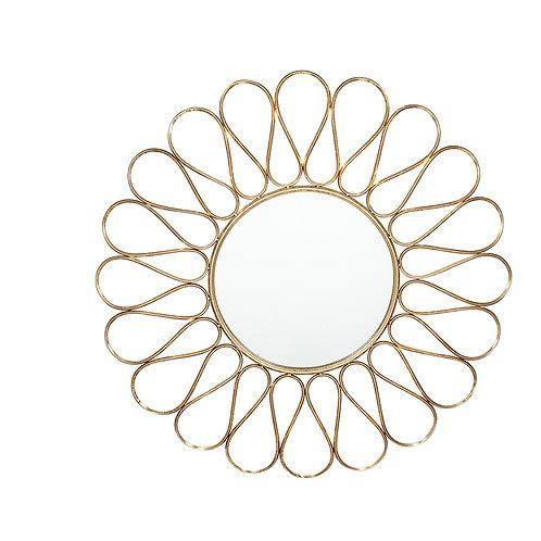 Antique Gold Metal Design Round Wall Mirror