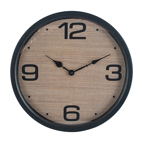 Matt Black and Wood Effect Metal Retro Wall Clock