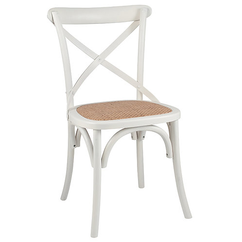 Antique White Elm Wood & Rattan Dining Chair