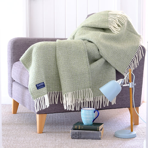 Green & Grey Illusion Pure New Wool Sand Blanket