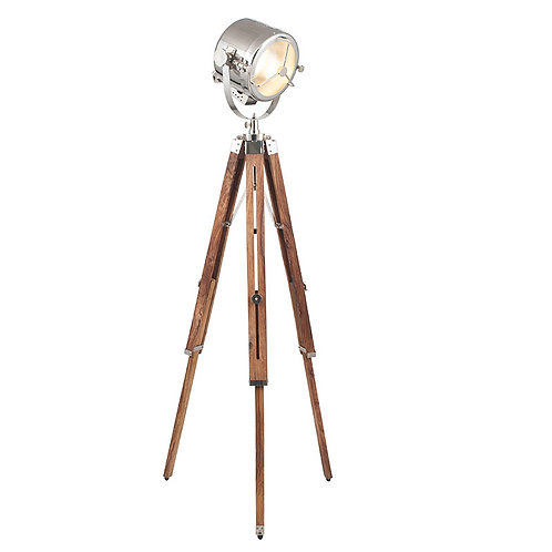 Brown and Silver Tripod Marine Floor Lamp