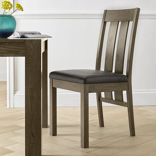 Turin Dark Oak Slatted Chair - Distressed Bonded Leather (Pair)