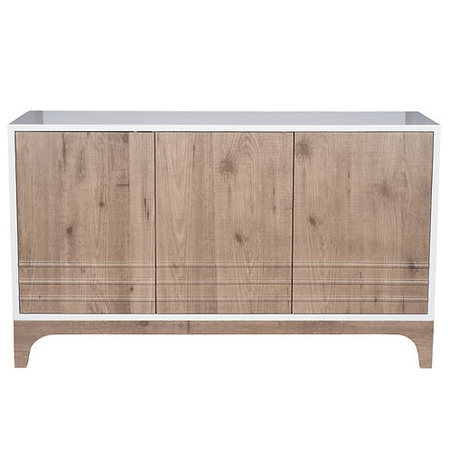 Natural Wood & White PVC 3 Door Cabinet