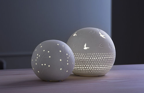 Porcelain LED Light Ball with embossing and openings with tree design