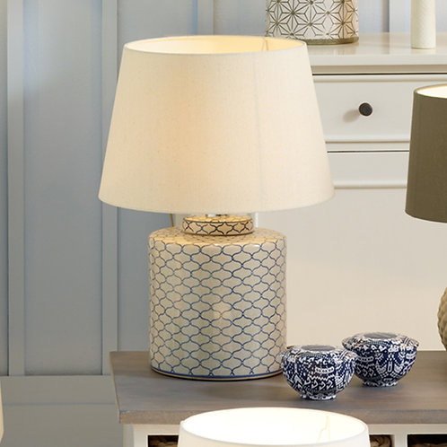 Grey and Blue Detail Ceramic Table Lamp