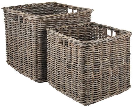 Grey Kubu Set of 2Large Square Baskets