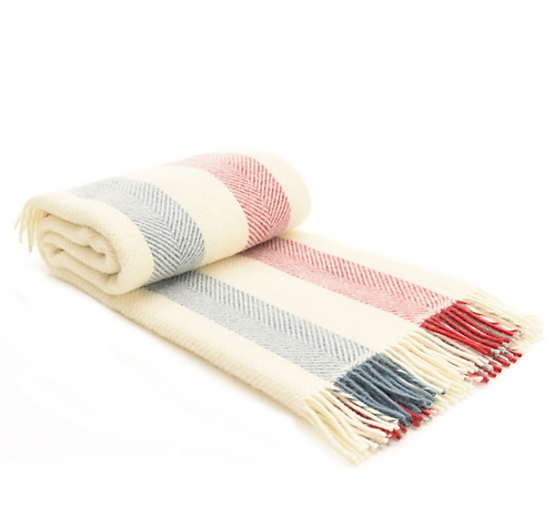 Berry Stripe Pure New Wool Blanket
