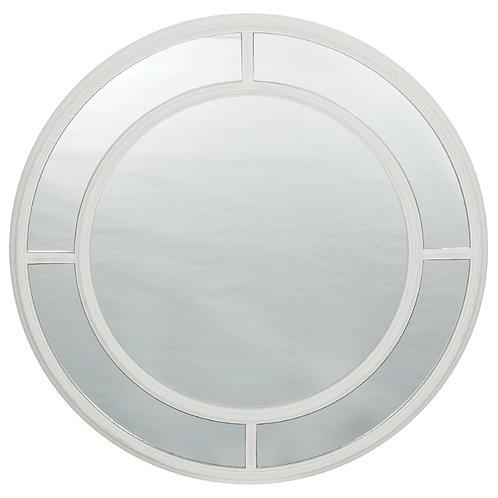 Brushed White Wood Round Wall Mirror