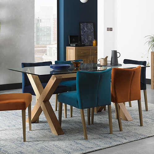 Turin Light Oak Glass Top Rectangular Dining Set with 4 Chairs
