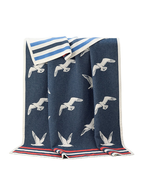 Seagull Double Sided Cotton Throw with Reversed Out Design