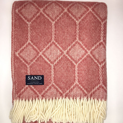 Gemstone Pure New Wool tweedmill Blanket Lingonberry sand cornwall