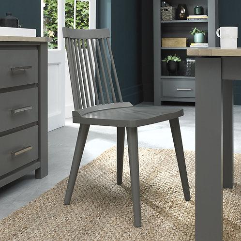Oakham llva Dark Grey & Scandi Oak Spindle Chair (Pair)