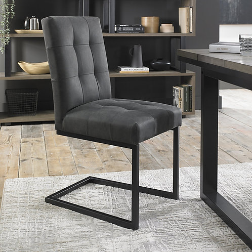 Indus Uph Cantilever Chair - Dark Grey Fabric (Pair)