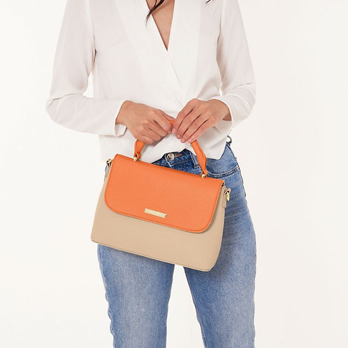 TALIA TWO TONE MESSENGER BAG /BURNT ORANGE AND TAN