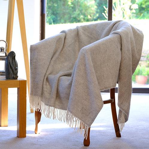 Silver Grey Fishbone Pure New Wool Sand Blanket