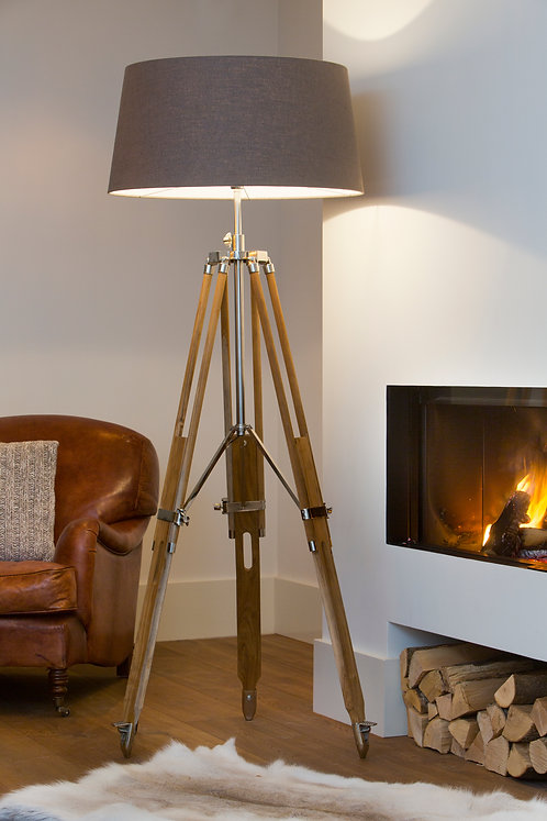 BOUDIN Teak Wood and Nickel Tripod Floor Lamp