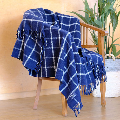 Navy Chequered Check Pure New Wool Sand Blanket