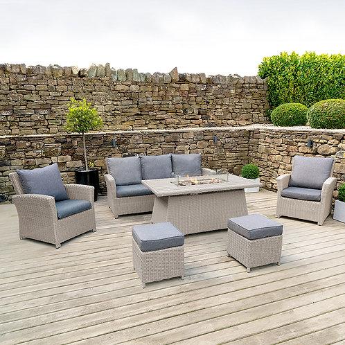 Stone Grey Barbados Lounge Set Polywood Fire Pit