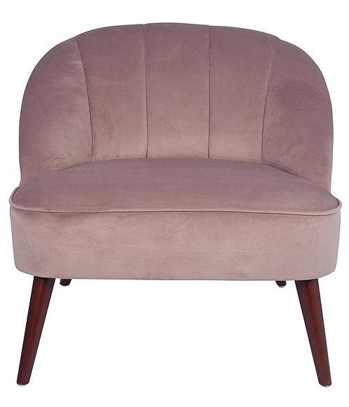 Blush Pink Velvet  Chair with Walnut Effect Legs
