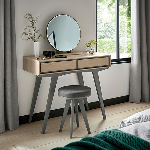 Brunel Scandi Oak & Dark Grey Vanity Mirror