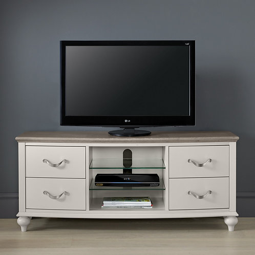 Montreux Grey Washed Oak & Soft Grey Entertainment Unit Table