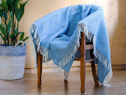 Beehive Petrol Blue Pure New Wool Sand Blanket