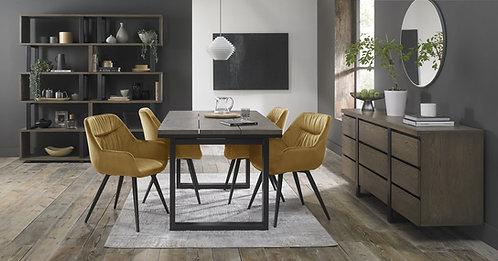 Mustard Velvet Upholstered Arm Dining Chair