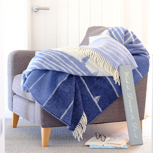 Nautical Double Sided Wool Blanket with Reversed Out Design