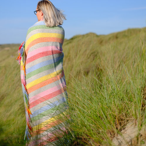 Countryside Stripe Pure New Wool Blanket Rainbow