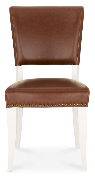 Belgrave Ivory Upholstered Chair - Rustic Tan Faux Leather (Pair)