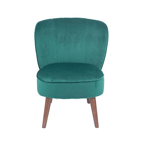 Forest Green Velvet  Chair with Walnut Effect Legs