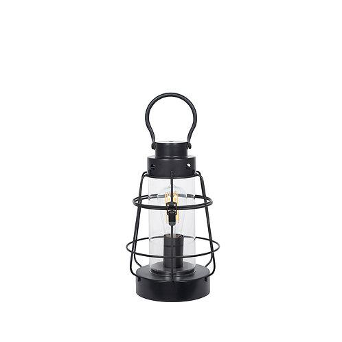 Black Metal & Clear Glass Oil Lantern Table Lamp