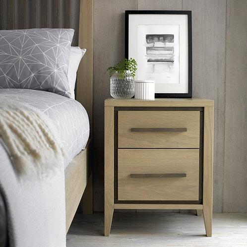 Rimini Aged and Weathered Oak 2 Drawer Bedside Cabinet