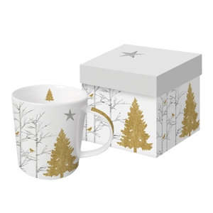 Mystic Tree White Real Gold Gift-Boxed Mug 350ml New Bone China