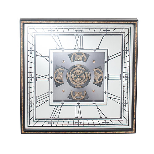 Antique Gold Wood Frame and Mirrored Square Cog Wall Clock