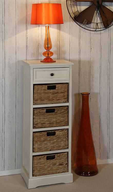Cream Wood 1 Drawer 4 Basket Tall Unit