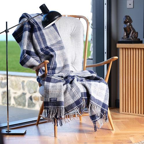 Navy Bannockbane Tartan Pure New Wool Blanket