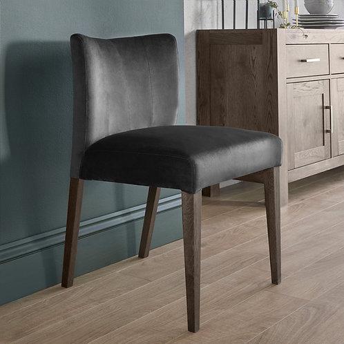 Turin Dark Oak Low Back Uph Chair - Gun Metal Velvet Fabric (Pair)